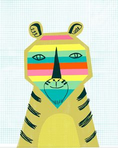 Television Tiger by PetitReve on Etsy