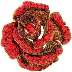 Brooches Store Large Siam Red Swarovski Crystal Rose Flower Brooch -- Find out more at the image link.