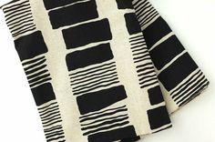"REMNANT Cotton/linen canvas, black bars on natural, 1yd 15"""