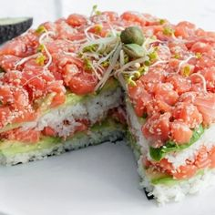 Sushi Layer Cake, from the top: salmon meets avocado, cucumber, rice, repeat