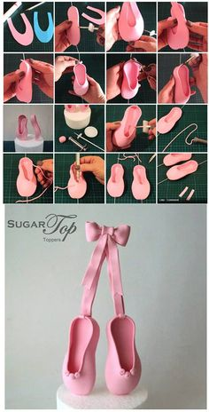Ballet Slippers Tutorial by Sugar Top Cakes (formerly known as Sugar Top Toppers) You will need:- Pink Fondant (or color of your choice). Fondant Toppers, Fondant Cakes, Cupcake Cakes, Fondant Girl, Cake Fondant, Ballet Cakes, Ballerina Cakes, Shoe Cakes, Ballerina Slippers