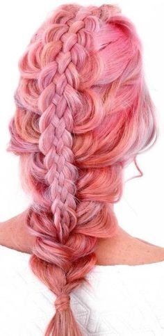 Pastel pink 5 strand braided hairstyle.