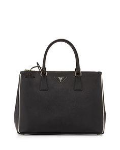 Saffiano Lux Tote Bag, Black/White (Nero/Talco) by Prada at Neiman Marcus.