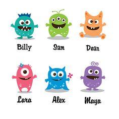 Personalized Monster Decor, Little Monster Art Print, Nursery Kids Wall Art Room… Cartoon Monsters, Cute Monsters, Monsters Inc, Little Monsters, Monster 1st Birthdays, Monster Birthday Parties, Monster Party, Monster Kindergarten, Monster Decorations