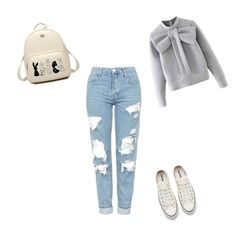 """""""Untitled #2"""" by elvira-jakubovic ❤ liked on Polyvore featuring Topshop, Converse and WithChic"""