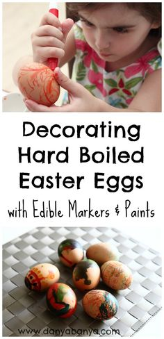 Decorating hard boiled eggs for Easter with edible paints and markers. #preschool