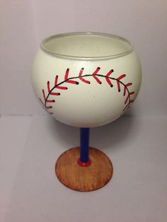 Hey Batter Batter Hand Painted Wine Glasses by TheLastPinkElephant