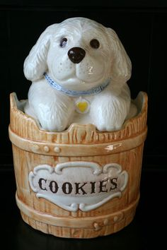 Puppy in Basket Cookie Jar made in USA by Treasure Craft. Adorable for any kitchen counter.