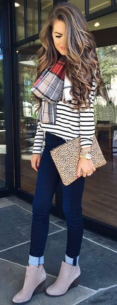 #fall #trending #street #outfits | Stripes + Denim