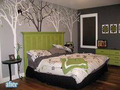I'd swap aqua for the chartreuse, but I love this room.  I wonder if I could make the trees with white contact paper since I live in an apartment.  The half of a table mounted to the wall is a great idea if space was a premium