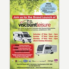🎉 🍾OFFICIAL LAUNCH EVENT 🍾🎉 & May Meet the team and find out more about our superb range of & Camping Accessories. FREE Bacon Roll until midday! Cake Stand & Tombola in support of CLIC Sargent. Massive Discounts and Great Give-Aways across our ranges! Viscount Caravan, Bacon Roll, Used Motorhomes, New Names, Meet The Team, Camping Accessories, Caravans, Southampton, Camper Van