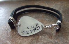 Mens Personalized Guitar Pick Leather Bracelet by BraceletsbyLinda, $45.00