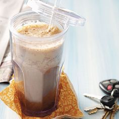 A.M Rush Espresso Smoothie - Recipe from Taste of Home:  Want an early morning pick-me-up that's good for you, too? Fruit and flaxseed give this sweet espresso a nutritious twist.