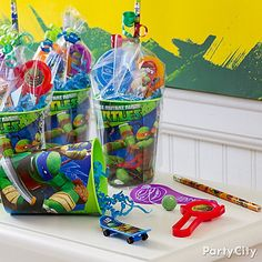 Teenage Mutant Ninja Turtles Ideas: Favors - Big Kids Check out the website for Ninja Turtle Party, Girl Ninja Turtle, Ninja Party, Turtle Baby, Turtle Birthday Parties, Ninja Turtle Birthday, Boy Birthday, Carnival Birthday, Birthday Ideas