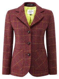 Womens Harris Tweed Jacket Burgundy