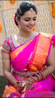Telugu Bride Tamil Bride Diamond Bridal Jewellery Kanchi Uppada saree Blouse Embroidery