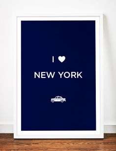 NEW YORK print art poster Love illustration taxi cab NYC typography heart. $19.00, via Etsy.