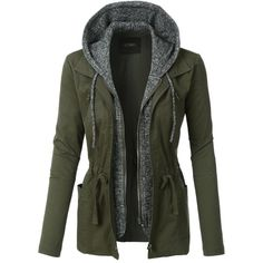 LE3NO Womens Lightweight Military Anorak Jacket with Fleece Hoodie ($32) ❤ liked on Polyvore featuring outerwear, jackets, double zipper jacket, military fleece jacket, light weight jacket, double zip jacket and military jackets