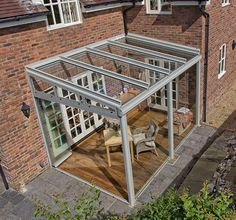Designed to fit portal and glass room with roof shapes at Eden - . Designed to fit portal and glass room with roof shapes at Eden - . Small Pergola, Pergola With Roof, Outdoor Pergola, Pergola Shade, Patio Roof, Pergola Plans, Outdoor Rooms, Outdoor Gardens, Pergola Kits