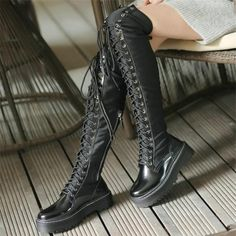 Pentagram Open Back Black Platform Gothic Boots