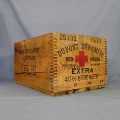 Vintage DuPont Dynamite Crate ~ 25 lbs of Red Cross Extra Strength Explosives