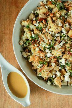 Roasted Cauliflower Salad with Toasted Hazelnuts, Feta, Green Olives and Red Wine Vinaigrette