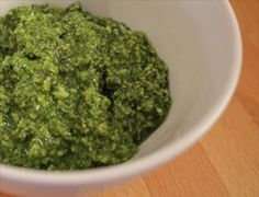BASIL PESTO:  Most basil pesto recipes call for pine nuts but you can easily substitute walnuts.  Serve with pasta or on baked potatoes.