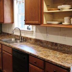 She Painted Her Laminate Countertops To Look Like Granite.