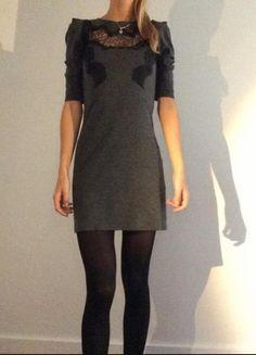 Compra mi artículo en #vinted http://www.vinted.es/ropa-de-mujer/vestidos-de-encajes/818005-vestido-gris-encaje-negro-sandro