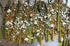 roasted asparagus with crushed pistachios and feta.  #recipe #glutenfree #sogood