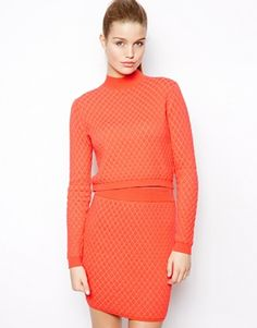 Image 1 of ASOS Sweater in Quilted Stitch with Turtle Neck