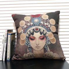 Top Selling 18In Beijing Opera Actress Linen Cotton Decorate throw pillow Cover-Isaiah Soliz