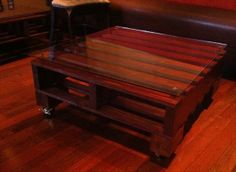 Dark Stained Pallet Coffee Table   Pallet Furniture Plans