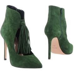 Anna F. Ankle Boots (7,190 MXN) ❤ liked on Polyvore featuring shoes, boots, ankle booties, green, stiletto booties, leather bootie, leather booties, stiletto ankle boots and green boots