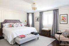 Grey red and blush Parisian bedroom by @vanessajfrancis
