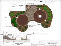 Patio with Circular Patterns and Fire Pit - Patio Designs & Ideas