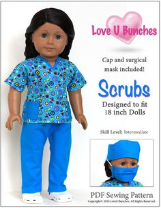 Scrubs Outfit 18 inch Doll Clothes Pattern #americangirl #dollclothes #sewing