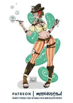 LADY TIME - steampunk digital illustration.