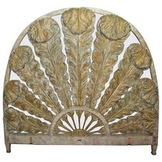 Prince of Wales Feather Carved Parcel Gilt & Mirrored Headboard | From a unique collection of antique and modern beds at http://www.1stdibs.com/furniture/more-furniture-collectibles/beds/