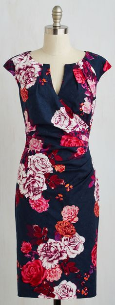 Would love this dress with a slightly less fitted skirt. I like the v-neck with the faux wrap/ruching combo