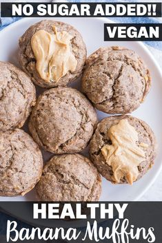 These Healthy Banana Muffins are sweetened only with bananas so there is no other added sugar in the recipe! They're really easy to make and only require one bowl. These Healthy Banana Muffins are super kid friendly and perfect for little toddlers! They're made with coconut oil and whole wheat flour. Muffins are also vegan and could easily be made gluten free! #Muffins #Kidfriendly #vegan #healthy Vegan Sweets, Vegan Desserts, Vegan Recipes Easy, Cooking Recipes, Free Recipes, Vegetarian Recipes, Healthy Banana Muffins, Sugar Free Desserts, I Love Food