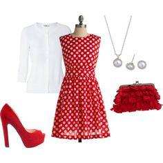 polka dot dress, and red! Fun!