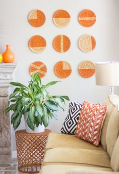 All you need for this cool wall art is some baskets, painter's tape, and spray paint. It's so simple and yields beautiful results.  Get the tutorial at Design Improvised.   - CountryLiving.com