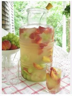 1 bottle of moscato, 3 cans of Fresca, and fresh fruit...PRESTO! sangria