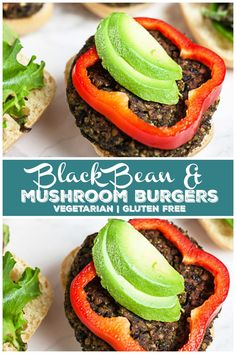 These Black Bean and Mushroom Burgers are healthy and easy to make The black beans and mushrooms are roasted for great flavor and texture Broccoli and spinach are added a. Easy Vegetarian Dinner, Vegetarian Burgers, Vegetarian Main Dishes, Easy Dinner Recipes, Vegetarian Recipes, Healthy Recipes, Vegan Dishes, Vegetarian Barbecue, Turkey Burgers
