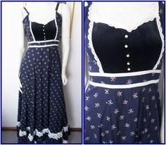 Vtg.70s Gunne Sax Navy Calico Velvet Lace Bib Maxi Sun Dress.S.Bust 32.Waist 26. on Etsy, $77.71
