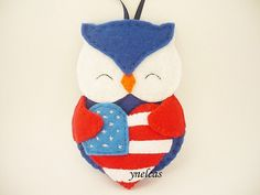 Red and white felt Owl Canada ornament You will receive ONE