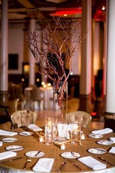 Golden antlers, pheasant feathers & belly dancers...oh, how we loved this wedding and this beautiful couple! -- The Driskill | Tara Welch Photography | Gypsy Floral & Events | Austin, TX #centerpiece #branch #modern | http://www.gypsyfloral.com