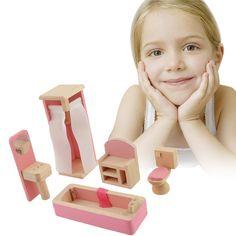 Marca bebé muñeca de madera muebles de baño-baño de casa de muñecas en miniatura para niños kids play toy