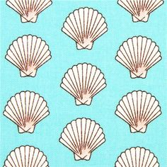 turquoise sailor fabric with shells by Michael Miller